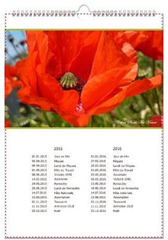 Calendrier mural A3 coquelicot fond blanc couverture